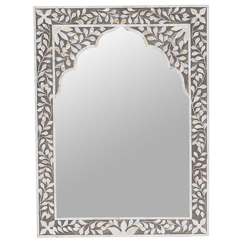 MOP Inlay Mirror Small Floral Grey
