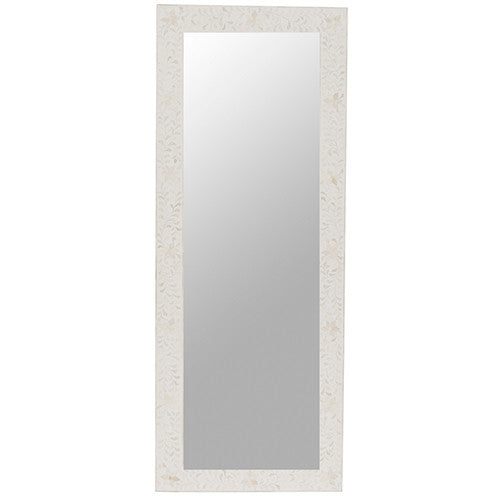 Bone Inlay Dressing Mirror - Floral - White