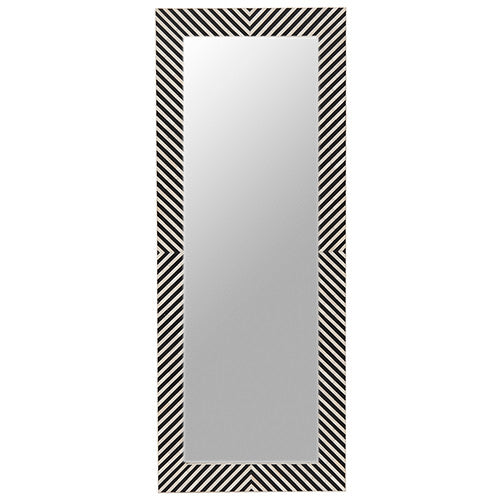 Bone Inlay Dressing Mirror Chevron Black