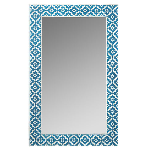 Bone Inlay Mirror - Wallpaper - Indigo
