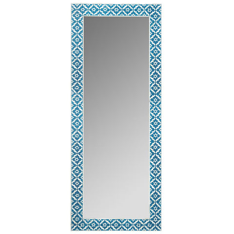 Bone Inlay Standing Mirror - Wallpaper - Indigo