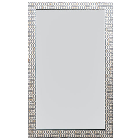 Bone Inlay Mirror - Lattice - Grey