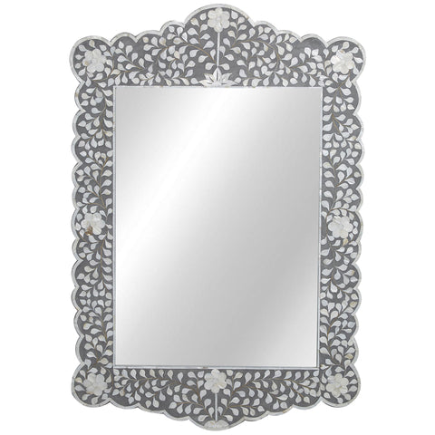MOP Inlay Scalloped Mirror - Floral - Taupe - Grey