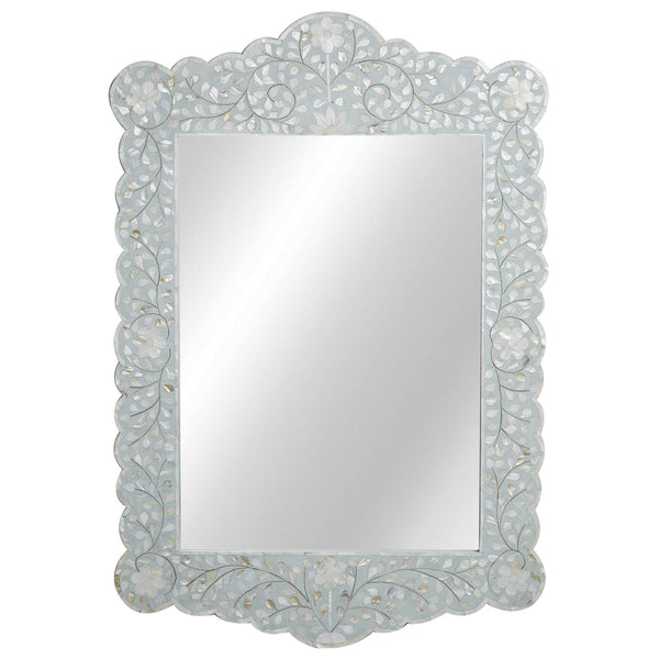 MOP Inlay Scalloped Mirror - Floral - Seafoam