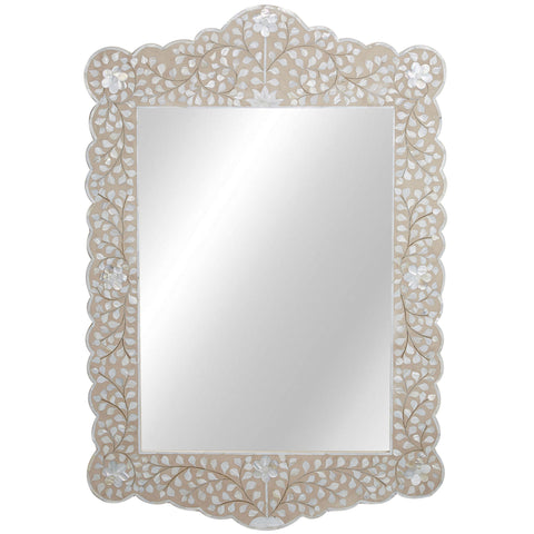 MOP Inlay Scalloped Mirror - Floral - Blush