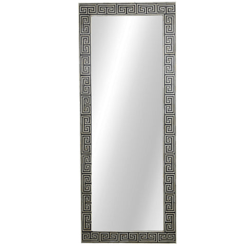 Bone Inlay Mirror - Maze - Black / White
