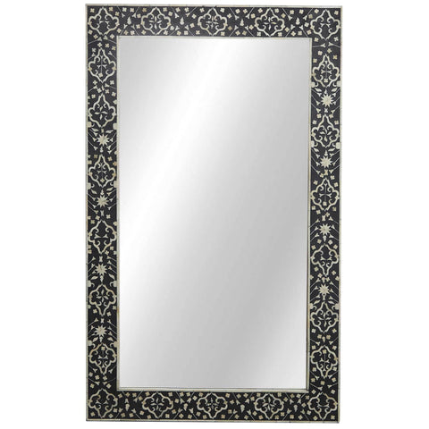 Bone Inlay Mirror - Moghul Flower - Black / White