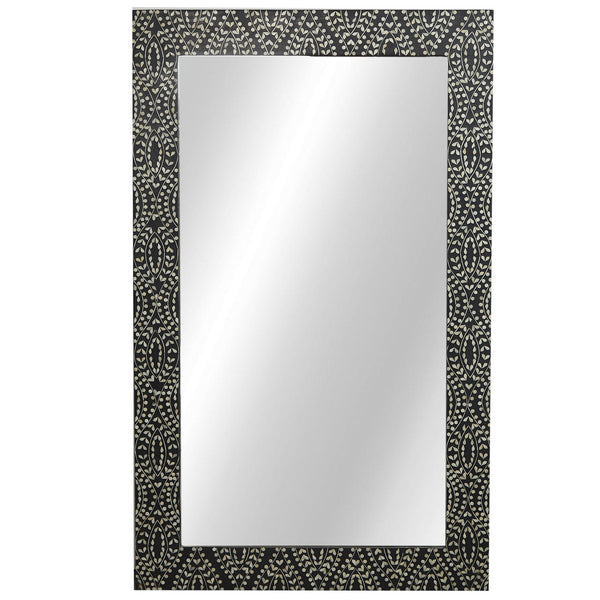 Bone Inlay Mirror - Classic Vine - Black / White