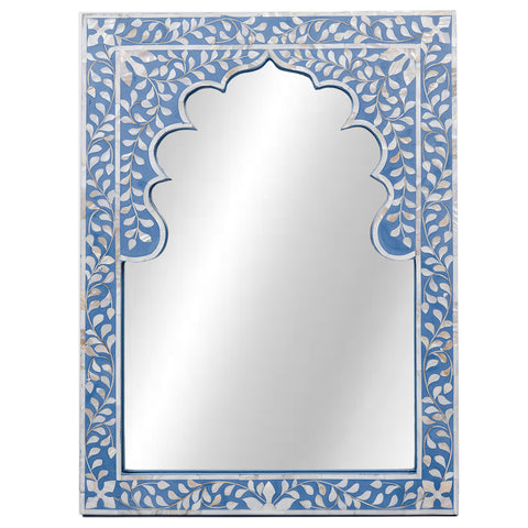 <br>SECONDS SALE<br />  Moghul MOP Mirror - Floral - Cornflower