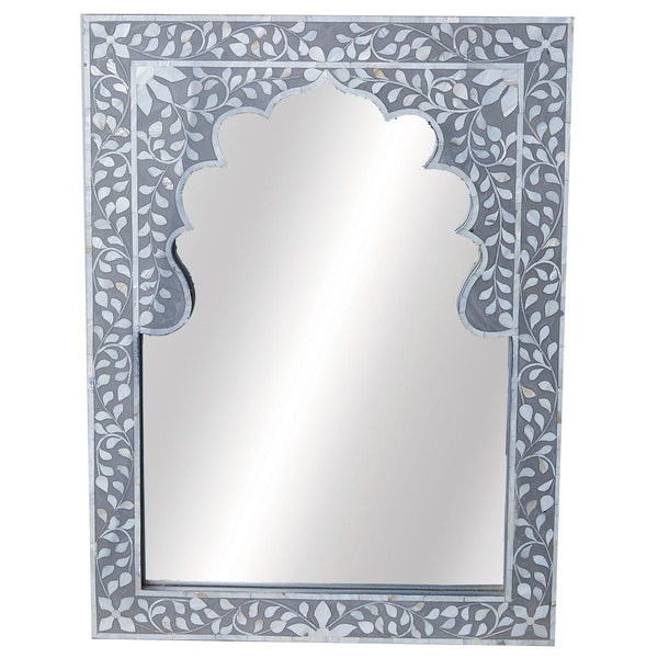 Moghul MOP Mirror - Floral - Taupe - Grey