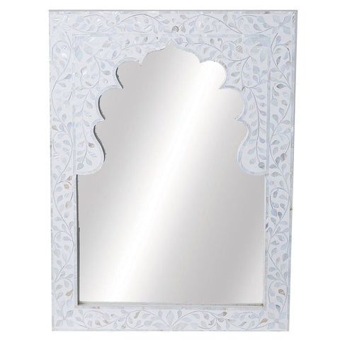 Moghul MOP Mirror - Floral - White