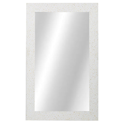 Bone Inlay Mirror - Classic Vine - White