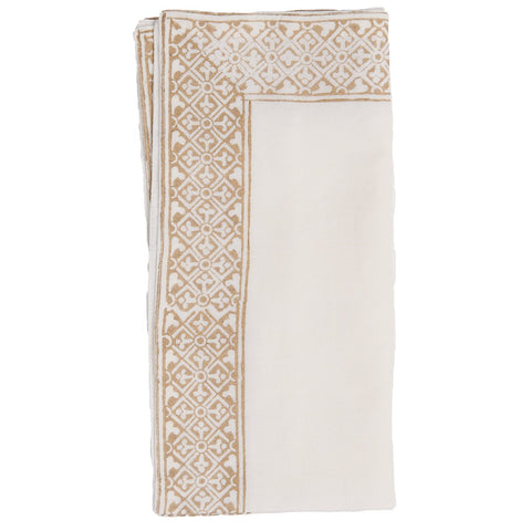 Block Printed Napkin - Border - White / Gold