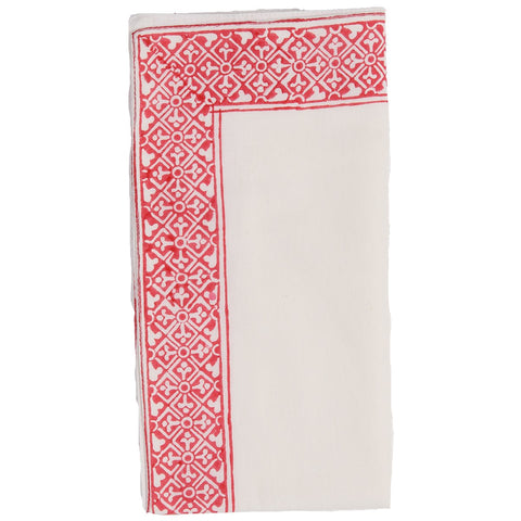 Block Printed Napkin - Border - White / Red