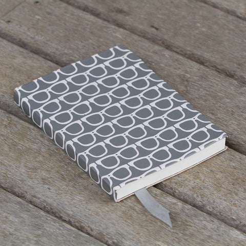 Scandi Leather Journal - Glasses - Grey / White