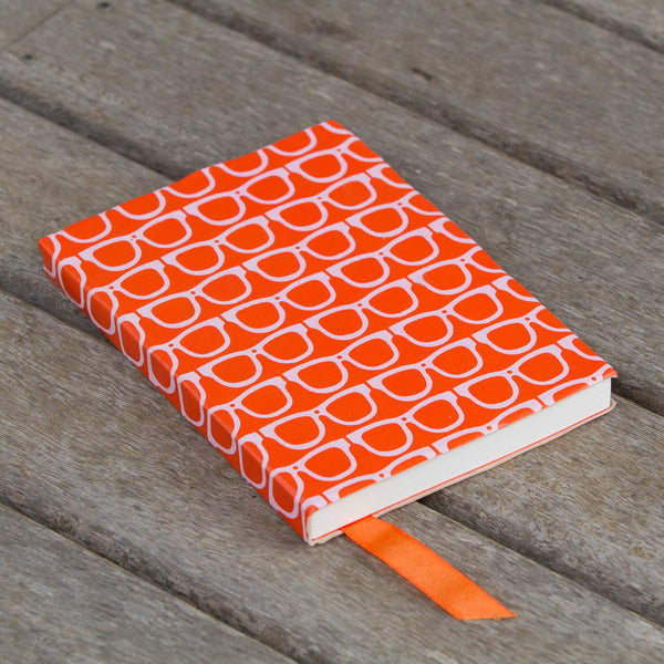 Scandi Leather Journal - Glasses - Orange / White