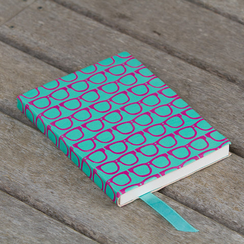 Scandi Leather Journal - Glasses - Turquoise / Purple