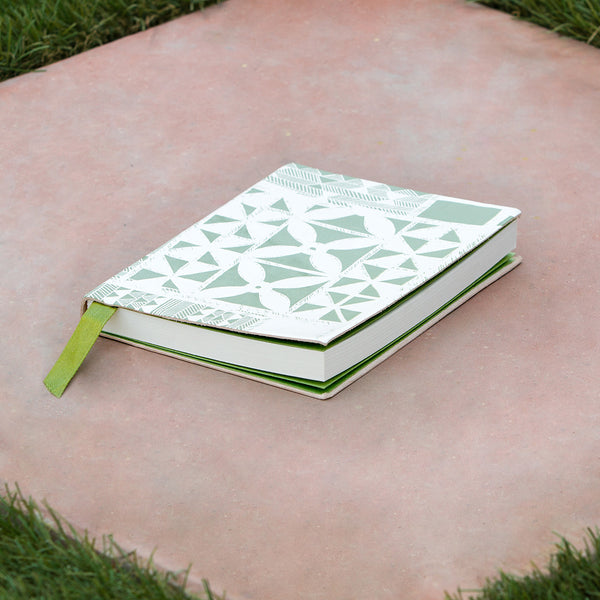 Tribal Leather Journal - Pale Green / White