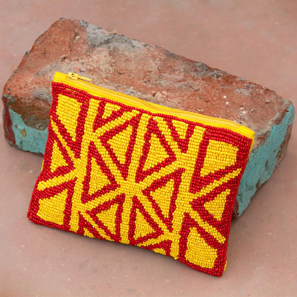 Tribal Beaded Purse - Yellow / Red