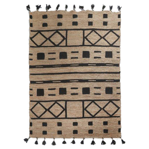 Jute Soumak Rug with Embroidery - Squares - Natural / Black