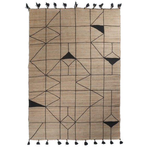 Jute Soumak Rug with Embroidery - Irregular Diamon - Natural / Black