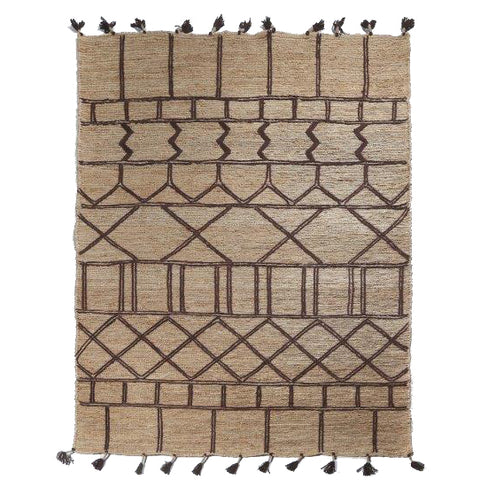 Jute Soumak Rug with Embroidery - Kasbah - Natural / Black