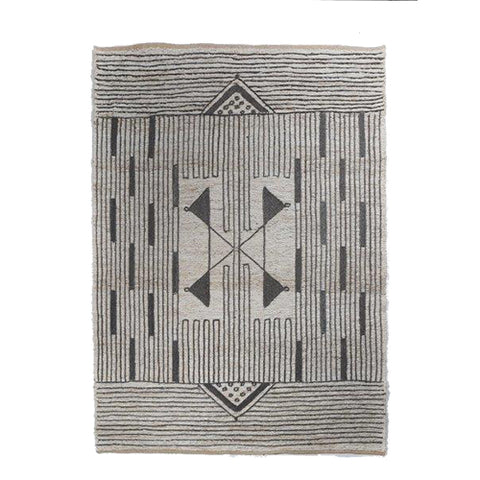Jute Soumak Rug with Embroidery - Souq - Natural / Black