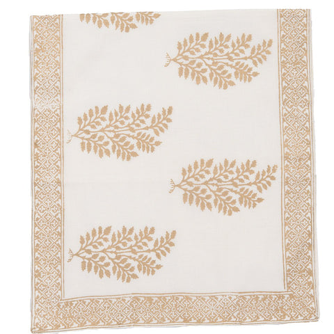 Block Printed Runner - Jungle Bouti - White / Gold