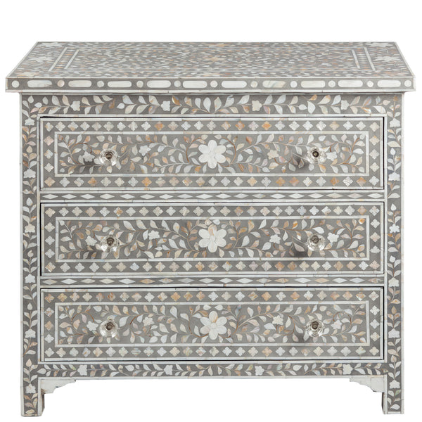 Shalimar MOP Inlay 3-Drawer Chest - Floral - Grey