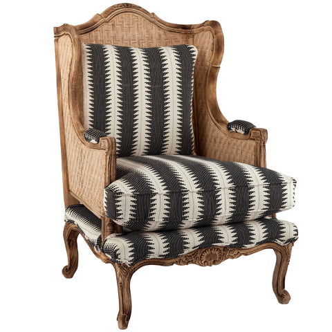 Rattan Armchair - Charcoal / White