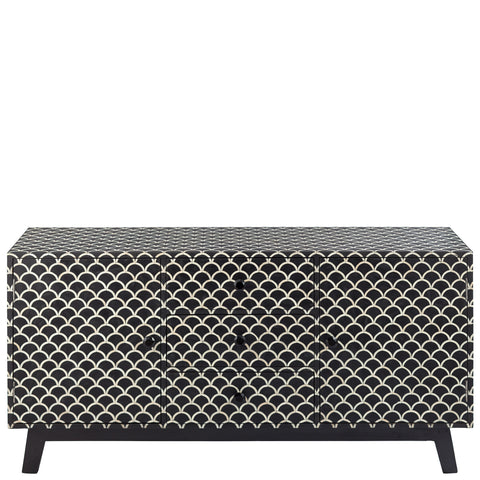Bone Inlay 3-Drawer Sideboard - Scalloped - Black