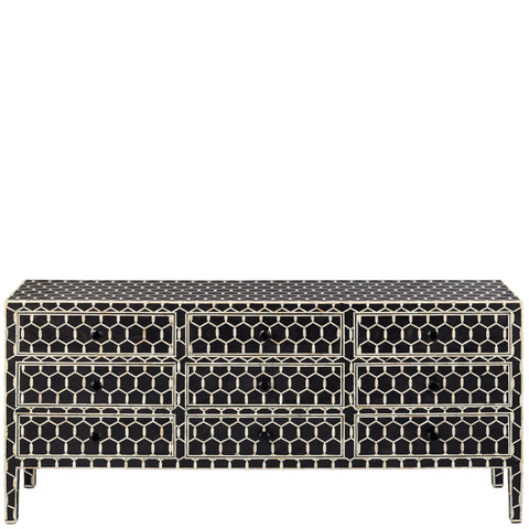 Bone Inlay 9-Drawer Chest - Honeycomb - Black
