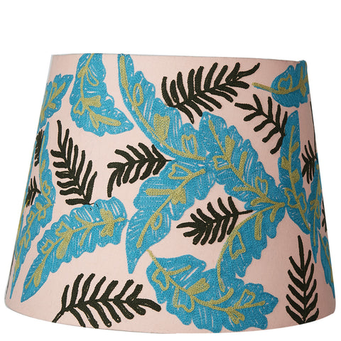 Tapered Shade - Palm Leaves - Pale Pink Multi