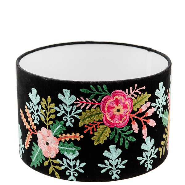 Drum Shade - Velvet - Floral - Black Multi