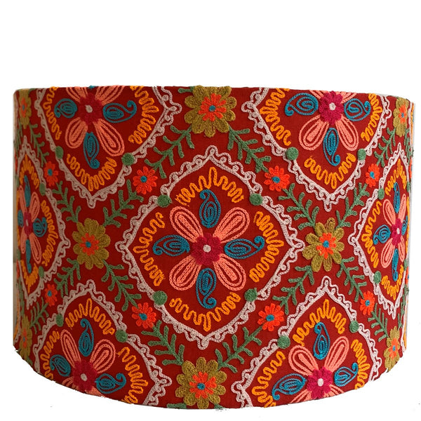 Drum Lampshade - Suzani - Orange Multi