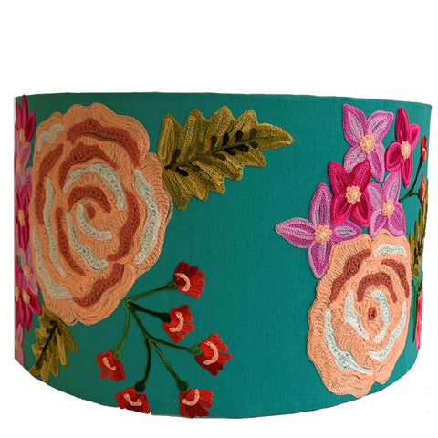 Drum Lampshade - Rose - Turquoise Multi