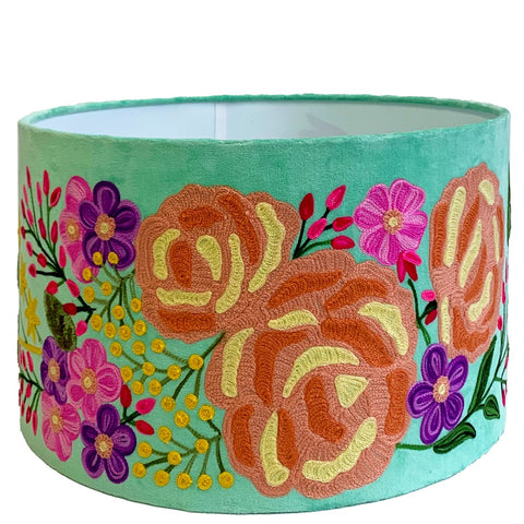 Drum Lampshade - Mini Bloom - Aquamarine