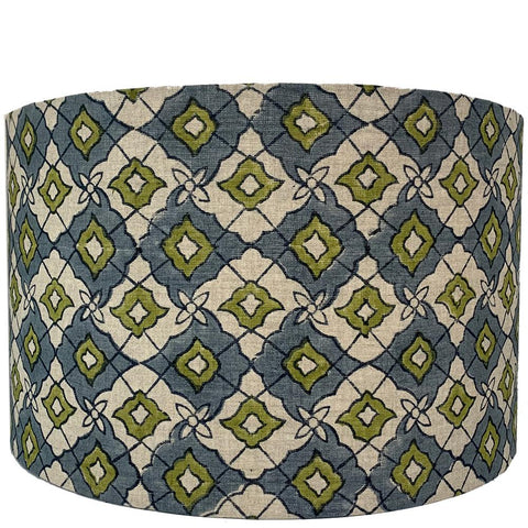 Drum Lampshade - Diamond - Olive / Grey