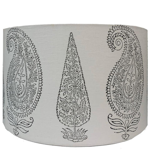 Drum Lampshade - Single Colour Large Bouti - White / Charcoal