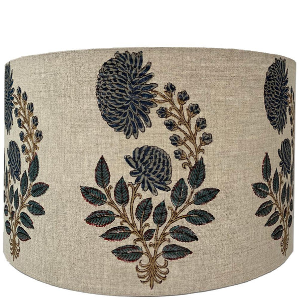 Drum Lampshade - Blue Flower - Blue Multi