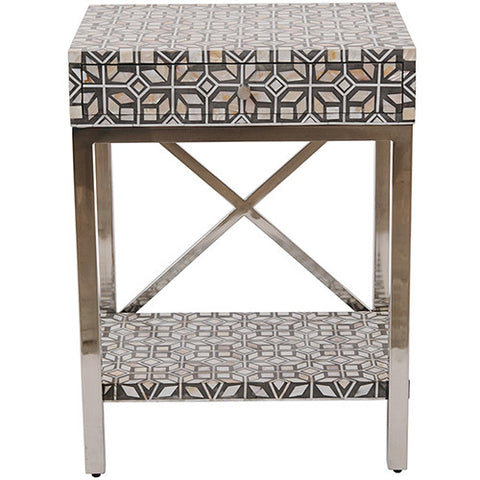 MOP Inlay 1 Drawer Side Table Modern Geometric