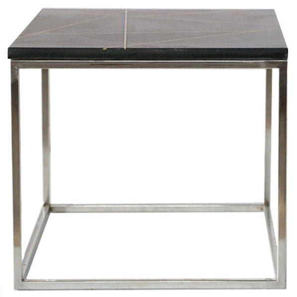 Granite & Brass Inlay Side Table