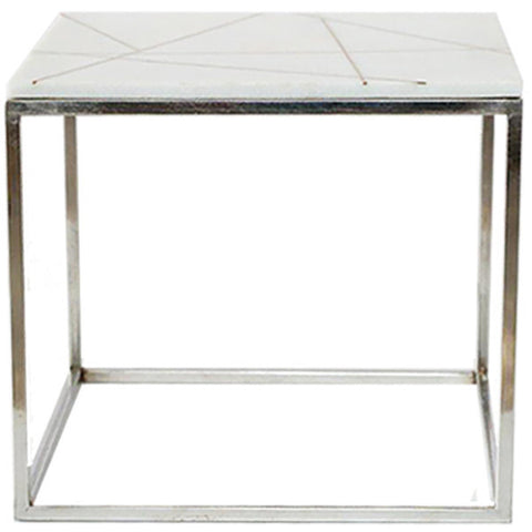 Marble & Brass Inlay Side Table