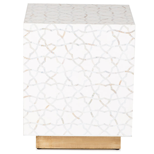 Atlas Mother of Pearl Inlay Side Table - White