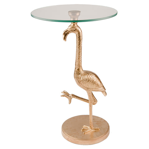 Stork Side Table with Glass Top - Brass Gold
