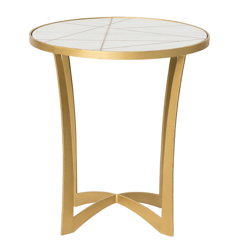 Brass Inlay Marble Side Table - White / Brass