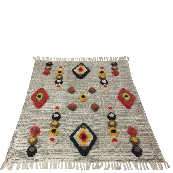 Tufted Diamond Khadi Throw - Multicolour