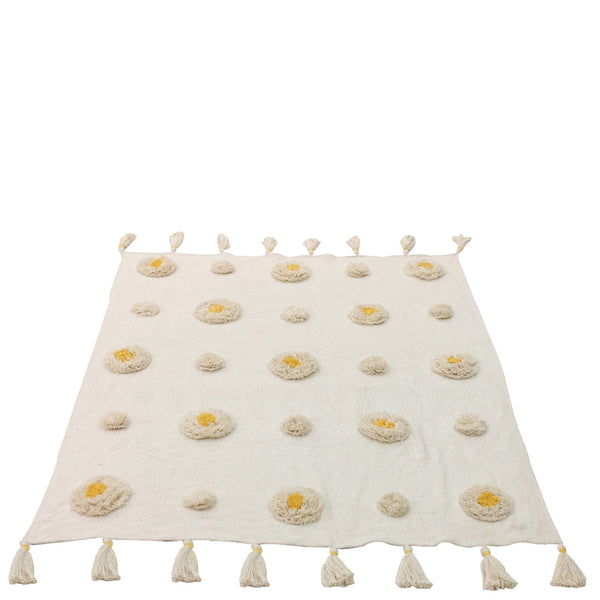 Tufted Circle Throw - White / Yellow