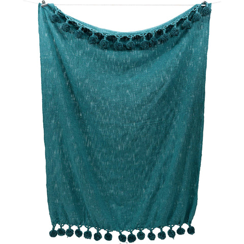 Pompom Throw - Teal