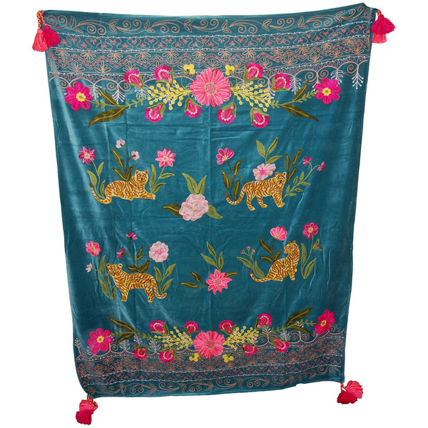 Tiger Velvet Throw - Sitting - Turquoise Multi